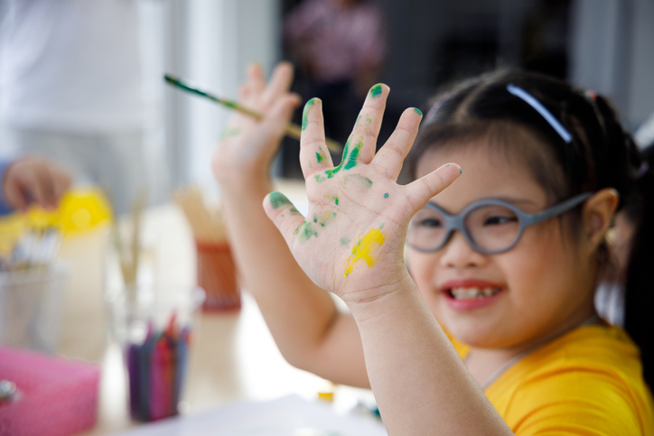 Special Needs Child with Paint